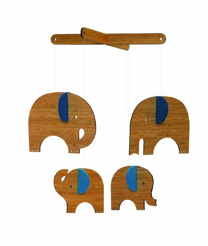 Petit Collage Deluxe Bamboo Mobile, Blue Elephant front-954888