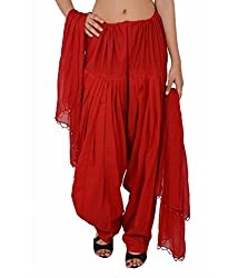 Shiva Collections red cotton patiala salwar with dupatta