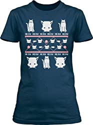 Women's Cat Lady Ugly Sweater T Shirt funny Christmas kitty tee for women by Crazy Dog Tshirts