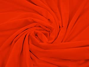 LA Linen™ 60-Inch 4 Way Stretch Microfiber polyester Spandex By The Yard, Orange. Made in USA.