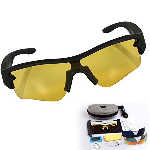 Bluetooth Sunglasses Wireless Stereo Headsets Headphone Polarized Glasses Goggles Hand-free Answer for Driving Fishing Outdoor Activities with 3 Pair Reflective Color Lens (Multi color)