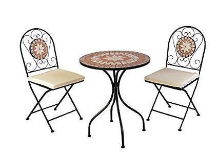 Designer Mosaik Bistro Set Metall pulverbeschichtet Bistro Set Gartenmöbel Balkon Gruppe inkl Sitzauflagen 2 Stuhle 1 Tisch in Mosaik Optik Set Gartenmöbel