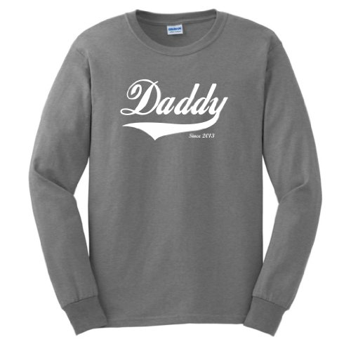 Daddy Since 2013 Long Sleeve T-Shirt Small Sport Grey front-904394