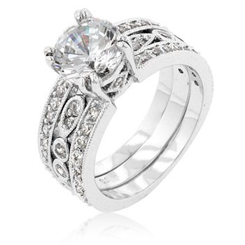 White Gold Rhodium Bonded Triple Row Anniversary Ring with Round Cut Clear CZ in Silvertone