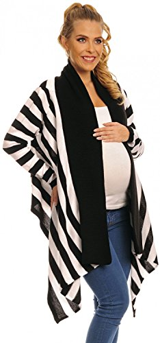 Happy Mama Womens Maternity Waterfall Colour Block Striped Knit Cardigan 316p (Black, US 4/6/8)