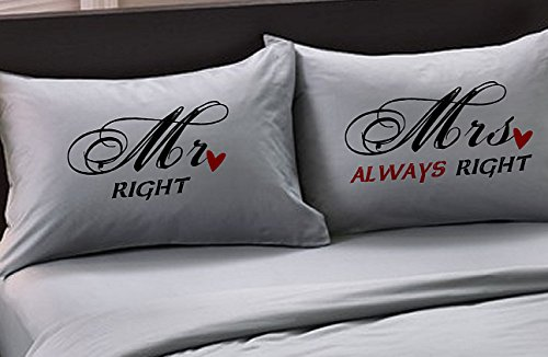 Mr Right Mrs Always Right Heart (Standard, Charcoal) Couple Anniversary Wedding Pillowcases Set of 2