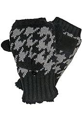 Isotoner Womens Black Convertible Flip Top Fingerless Gloves Sherpa Soft Mittens