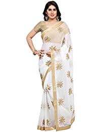 Styles Closet Off White Georgette Embroidered Women's Saree With Blouse Piece