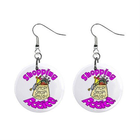 Shopping Addict Novelty Dangle Button Earrings