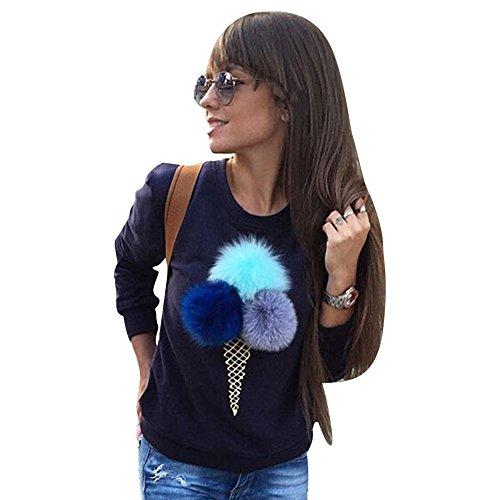 Highdas donne maniche lunghe casuale palla sfera Cono gelato Stampato Maglione blu scuro M