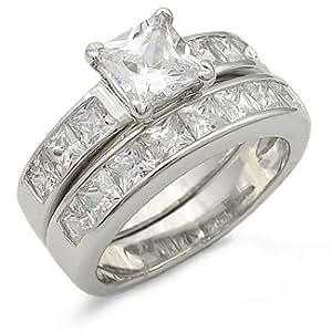 Amazon.com: CZ WEDDING RINGS - Princess Cut Cubic Zirconia