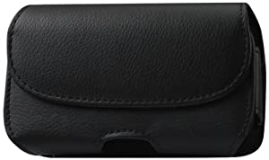 Reiko High Quality Leather Horizontal Pouch Carrying Mobile Case with Belt Loops for iPhone 4S/iPhone 3G with Defender Case Fit - Retail Packaging - Black