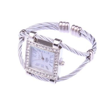 SODIAL- White Fashion Stylish Lady Women Girl Roman Numerals Dial Square Bracelet Wrist Watch