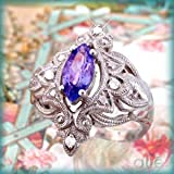 14K White Gold Victorian Tanzanite & Diamond Ring