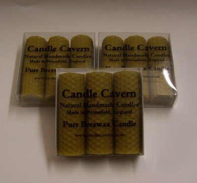 3 Natural Rolled Beeswax Pillar Candles Boxed - 3 Sets by Candle Cavern
