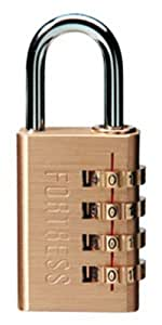 Master Lock 627D Brass Luggage Padlock, Set Your Own Combination, 1-3/16-inch