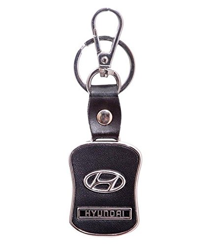 Chronowares Hyundai Leather Chrome Car Logo Key Chain