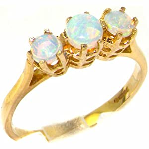 9K Yellow Gold Womens Colorful Fiery Opal Eternity Trilogy Band Ring - Size 6 - Finger Sizes 5 to 12 Available - Perfect gift for Anniversary, Engagement, Wedding, First Child