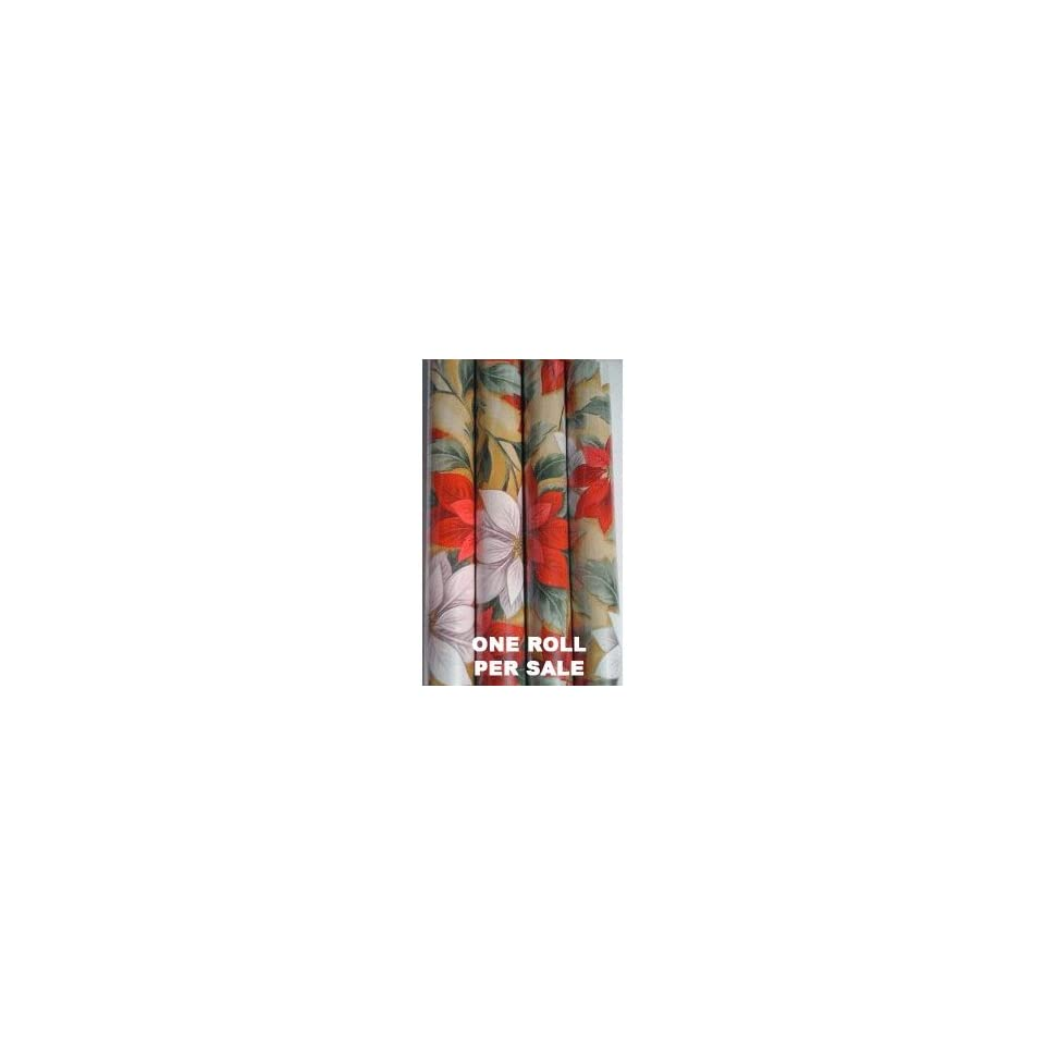 Elegant Poinsettia Christmas Wrapping Paper   One Roll