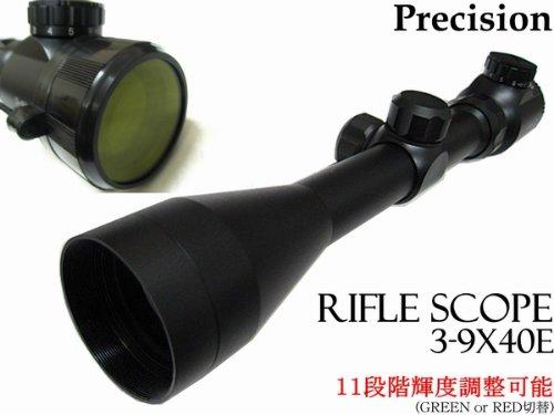 ライフルスコープ3-9×40E光度11段階輝度調整可能20mmマウントリング付き/3~9倍ズーム国内狩猟、実銃対応