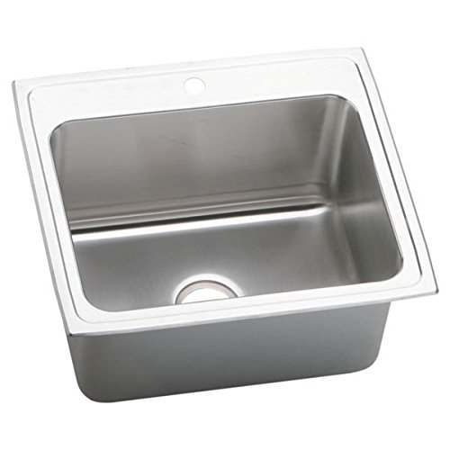 Elkao|#Elkay DLR252212MR2 18 Gauge Stainless Steel 25Inch x 22Inch x 12.125Inch single Bowl Top Mount Kitchen Sink Lustrous Highlighted Satin,