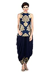 Metroz Blue Banarsi Festival Ware Top with Dhoti Style Salwar Dress Material