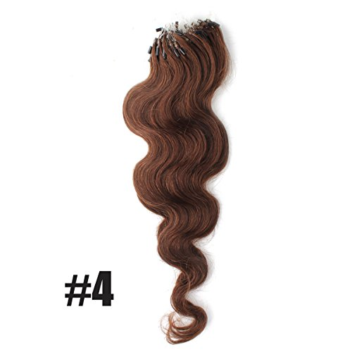 """Yewig 20"""" Loop Micro Ring Beads Tipped Remy Body Wave Wavy Curly 100% Real Human Hair Extensions 100s 1g/s #4 Medium Brown"""