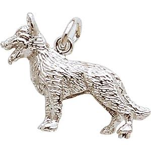 German Shepherd Charm, Sterling Silver