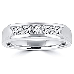 0.50 ct Men's Round Cut Diamond Wedding Band in Platinum In Size 15