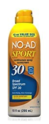 No-Ad Spf30 Continuous Spray Sunscreen Sport 10oz Supersize