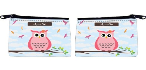 """Rikki Knighttm """"Amelie"""" Name - Cute Pink Owl On Branch With Personalized Name Scuba Foam Coin Purse front-592322"""