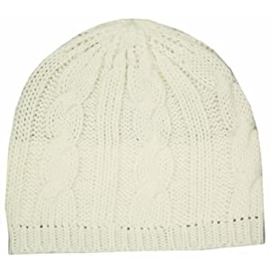 EH190NB - Cable Knitted Solid Color Fashion Winter Beanie / Cap / Hat - Cream/One Size