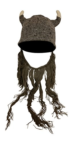 Knit Nordic Viking Hat with Grey Beard