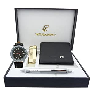 Montre Concept - Gift Box CBP - lighter - wallet - pen - men's Analog Watch - Black Synthetic Strap / Bracelet - Round Dial Black Background
