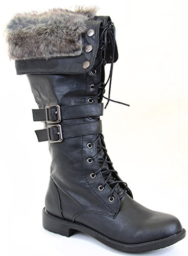 Fur Cuff Lace up Straps Combat Vegan Knee Boot Black