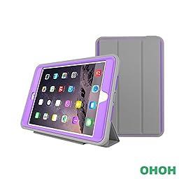iPad Mini 4 Case, OHOH Auto Sleep iPad Mini 4Case,TPU+PU Ultra Slim Light Weight Protective Anti-stain. Bracket. Popular and fashion design for ipad mini 4.(Hot Purple)