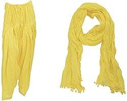 Bhagwati Craft Women's Cotton Regular Fit Patiala With Dupatta (Yellow ,SD008 )