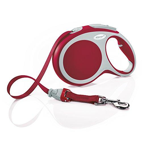 Flexi Vario Fettuccia con cinghia per cani, Taglia L (max 50 kg)/8 m, Colore: Rosso
