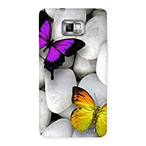 Special Butterflies white stones Back Case Cover for Galaxy S2