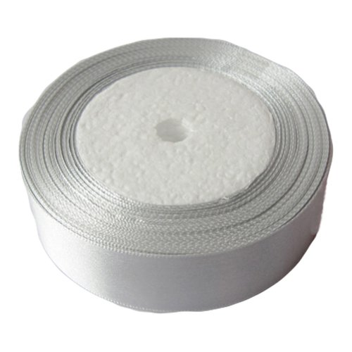 OurWarm Silver 1&#8243; Inch 25mm Wide Satin Ribbon 25Yard Birthday Party/Craft/Wedding Favors Bow Scrapbooking Decor (75FT)