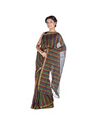 ELife Multi-Colored Cotton Striped Saree For Women