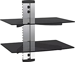 VonHaus 2x Silver Floating Shelf with Strengthened Tempered Glass for DVD Players/Cable Boxes/Games Consoles/TV Accessories