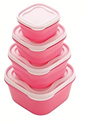 Patidar Polymers Multiuse Airtight FoodSaver Container Set Pink (2400, 1400, 800, 400 ml)