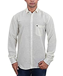GreyBooze Solid Linen Shirt (Medium, Cream)