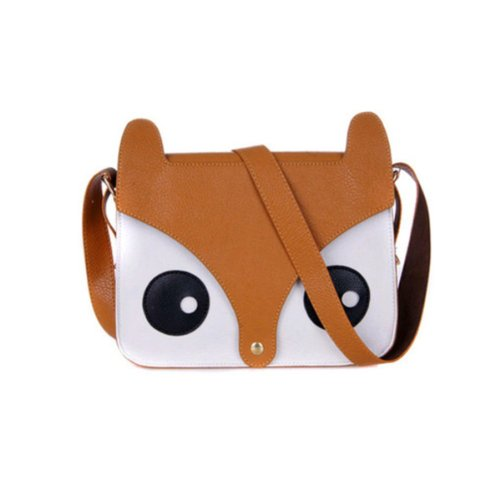 ISASSY Fashion Hot Retro Contrast Color Little Naughty Owl Fox Bag Messenger PU Leather Crossbody Purse Satchel...