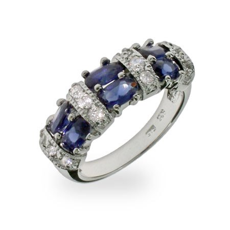 Susan's Sapphire and Diamond CZ Ring Size 6 (Sizes 5 6 7 8 9 Available)