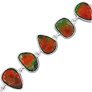 925 Sterling Silver Natural Ammolite Gemstone Wedding And Party Wear Handmade Link Bracelet Drop-6, Chain-3 Inch New Design Jewelry