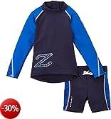 Zunblock Snake Tuta di protezione solare per bambini, a maniche lunghe e con pantaloncini, Blu, 86/92