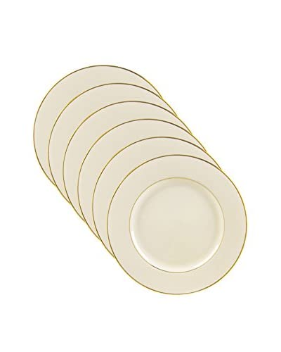 10 Strawberry Street Set of 6 Cream Double Gold 9 Luncheon Plates