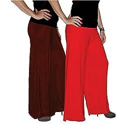 Xarans Sharara Stylish Looking Brown & Red Palazzo